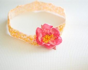 Yellow, Orange and Pink Fabric Newborn Headband--Baby Photography Prop