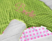 Boppy Pillow Cover- Personalized Boppy Cover- Pink Dot and Lime Green Minky Boppy Cover with Navy Embroidery