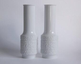 Mid-Century Set Of Two  German White Porcelain Vases - Thomas 60s