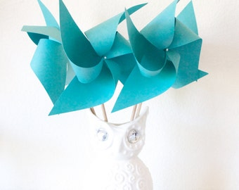 Shower Decor Blue Wedding Pinwheel Favors or Wedding Decor 6 - Large pinwheels (Custom orders welcomed)