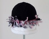 Miss Muffet Bleached White, Pink & Black Baby Hat With Band of Pink Zebra Ribbons