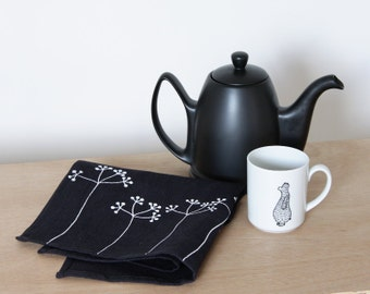 Elderberry Dishcloth - black linen tea towel with white elderberry flowers