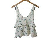 Shamrock Print Cream and Green Low Criss Cross Back 2-Tier Floaty Crop Camisole Handmade Sample sold as is