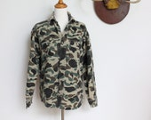 Vintage Camo Shirt // Camouflage Canvas Long Sleeves // Five Brothers Camo Mens Small Womens Medium