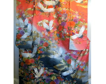 Vintage uchikake (a very formal kimono) -  embroidered cranes and flowers on red and black silk (shipping included)