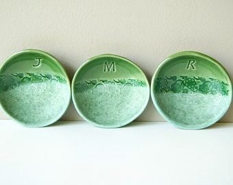 """PERSONALIZED 4 1/2"""" Ring Dish, Bridesmaid Gifts, Anniversary Ring Bowl, Ceramic, Handmade Pottery, MADE to ORDER"""