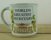 World's Greatest Secretary Coffee Mug 1980's Typewriter George Good Japan