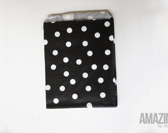 25 black bakery treat bags with white polka dots