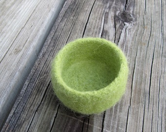 Very small felted lime green woolen bowl