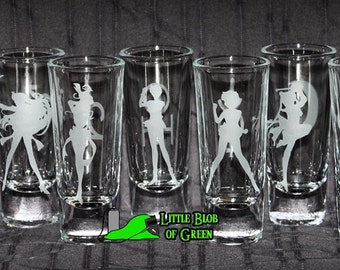 Individual Dual-Sided Sailor Moon Shooters / Shot Glass - Select from the 9 Planetary Symbols - Moonies / Anime / Senshi / Sailor Scouts