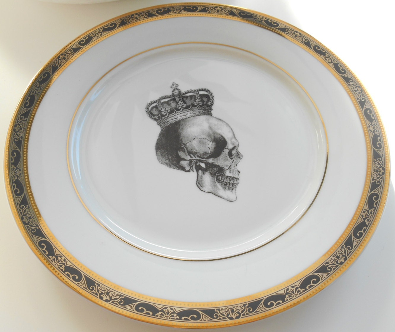 Black and Gold Dinner Plate $35. Fancy Gold Salad Plate $35 (reg.$40) Su0026H $25 & Custom Order for Mary - Four Black and Gold Dinner Skull and