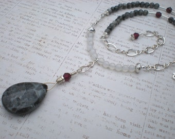 Sansa necklace, blue labradorite, white agate, garnet, sterling silver, renaissance, unique jewelry by Grey Girl Designs on Etsy
