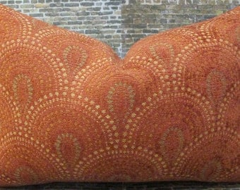 Designer Pillow Cover - 10 x 20, 12 x 16, 12 x 18, 12 x 20 - Chelsea Scallop Tex Burnt Orange