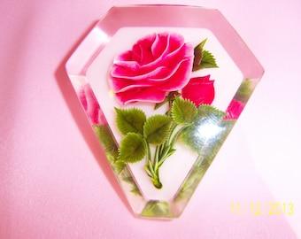 Detailed Rose Encased in Resin Brooch