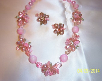 Signed Pink Spring Floral Clusters Lucite Necklace and Earrings