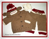 Knitted  Sweater, Baby 4 piece set. 0-3 m. Made to Order By Nana'slittlestitches