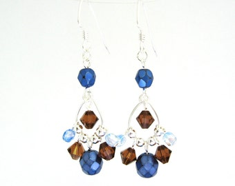 Cobalt Blue and Brown Earrings, Chandelier Earrings Silver Tone, Fancy Beaded Drop Earrings, Dark Blue Earrings, Boho Style, Wire Jewelry