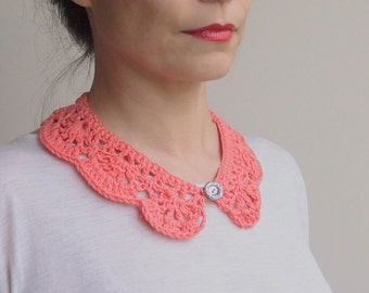 Crochet PATTERN woman collar, Peter Pan girl collar, crochet cowl, vintage lace , DIY, photo tutorial Instant download