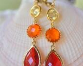 Long Jewel Dangle Earrings in Red Orange and Yellow.  Orange Dangle Earrings.  Long Jewel Earrings. Statement Earrings. Gift for Her.
