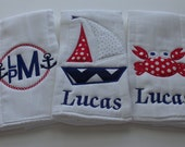Personalized  Burp Cloths Set of 3  Nautical Collection