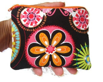 Clearance-Small zipper coin/accessory pouch-Michael Miller Carnival Bloom