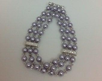 Swarovski Crystal and Pearl Triple Strand Strand Lavender Bridal Bracelet, The Jenna