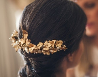 MARIA: Ivy Leaf- Golden foil-Wedding Tiara, Wedding crown,