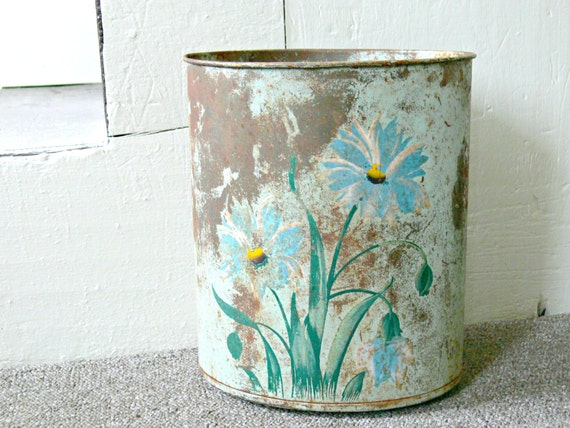 Vintage waste basket hand painted shabby chic by eitherorfinds - Shabby chic wastebasket ...