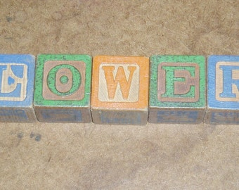 "Children's Toy Wood Blocks, Word ""Flowers"""