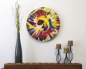 "Spin Painting, Acrylic on Round Panel - 20"" diameter #89"