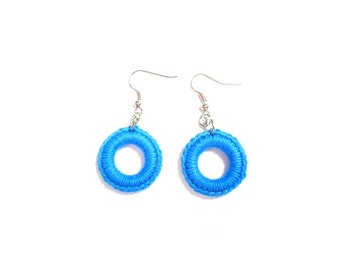 CIRCLE Crochet Earrings Blue Cotton yarn