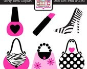 Girly Diva Clipart - Graphic Design - Hot Pink Zebra Print Makeup Purse Shoe Clipart