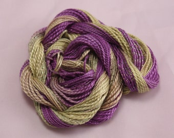 purple lime green Cotton Perle crochet Embroidery thread tatting weaving supply size 8 and 5 metallic sewing thread variegated hand dyed