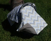 Baby Gift Set - Car Seat  Canopy and Maching Booties - Gray and Yellow Chevrons