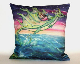 Children's Fairy Tale Pillow Cover - Flying Dragon with Fairy