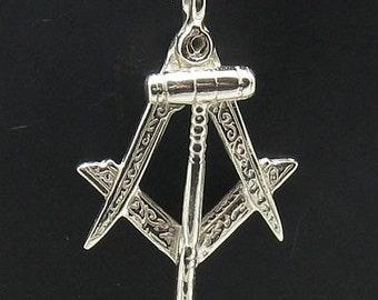 PE000661 Sterling silver Masonic pendant  solid 925