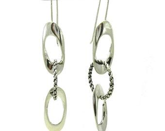 E000478  Sterling Silver Earrings Solid 925 Long Dangling