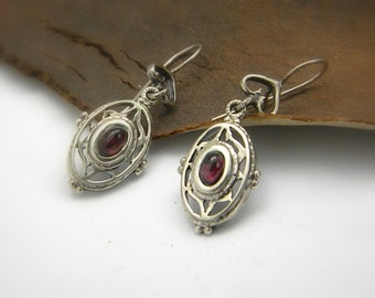 Sterling silver garnet earrings filigree victorian style dangle long Oxidized silver earrings