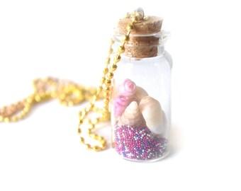 sea shells pendant message bottle necklace free shipping long necklace, message in a bottle