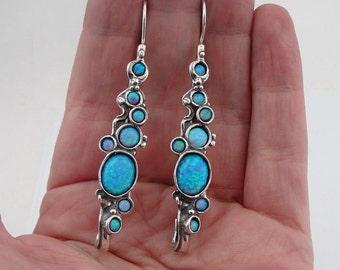 925 Sterling  Silver Opal Earrings,  Long Opal Earrings, Blue Stone Earrings, Fire Opal, Israel Jewelry, October birthstone (h2151)