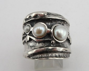 Hadar  Jewelry Handcraffted Sterling Silver Pearl Ring 8.5 (H 145)