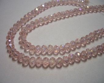 Crystal beads, 3 x 4mm, light pink, 80 crystals, light rose, glass beads, AB crystals, dusty rose, 4mm beads, special, sale