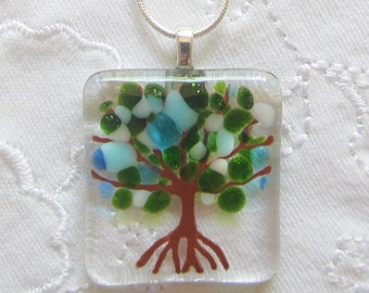 Tree of Life Necklace, Fused Glass Tree of Life Pendant in Blue, Turquoise, White, and Green, Tree of Life Necklace, Mothers Day Family Tree