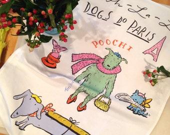 Dogs Do Paris Dish Towel Linen Original Design Nadine Westcott Illustrator Francophile Dog Lover Handmade Mutts Dachshund Parisian Dog