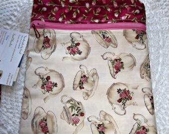 Bag Nook Kindle eReader Sling Messenger purse TEACUPS Roses Victorian multi  zip pockets cross body