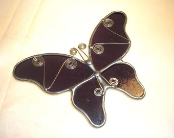 LT Stained glass lilac Butterfly suncatcher light catcher with a little fancy wire work made with lilac grape clear glass