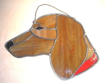 LT Stained glass Red Dachshund Doxie dog sun catcher light catcher with red collar