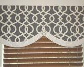 Custom Window Valance Modern Lattice / Gray Ivory / Accent Band / Lined / Geometric