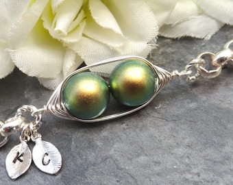 Two Peas In A Pod Silver Bracelet - Personalized Hand stamped Bracelet