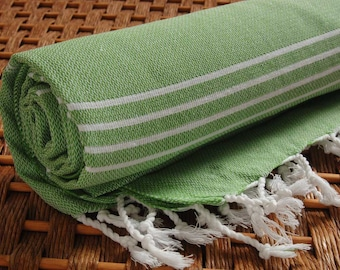 Turkish Towel Classic COTTON PESHTEMAL Personalized Turkish Towel - Monogrammed Embroidered - Forest Green